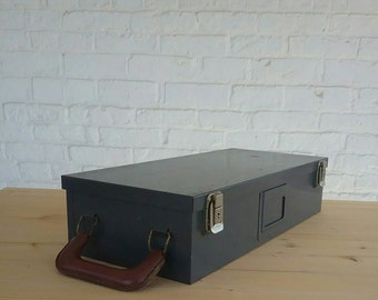 Grey Metal Storage Box with leather handle