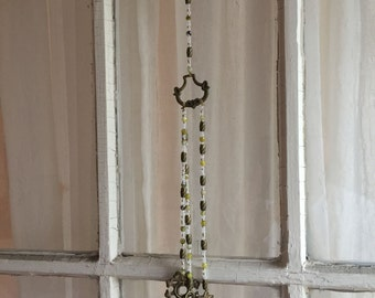 Victorian Chimes, Hanging Chimes, Antique Chimes, Victorian Brass Chimes, Drawer Pull Back Plate Chimes, Drawer Pull, Lime Gemstone, Frosted