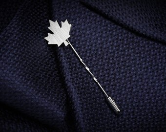 Custom lapel pin - Maple Leaf Tie Pin - Grooms boutonniere - Sterling silver Tie Tack - Wedding Lapel pin