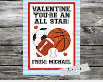 Sports Printable Valentine Card, Sports Valentine Cards, Instant Download, Soccer, Baseball, Football, Basketball, Kids Valentines Day Cards