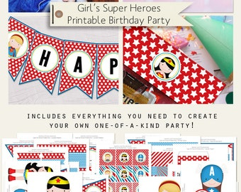 Super Girl Heroes Printable Birthday Party Decorations INSTANT DOWNLOAD