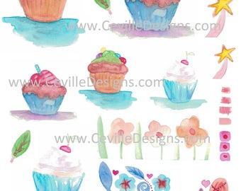 Watercolor Art Cupcakes Cherry Candy Leaves Flowers Collage Sheet by Ceville Designs