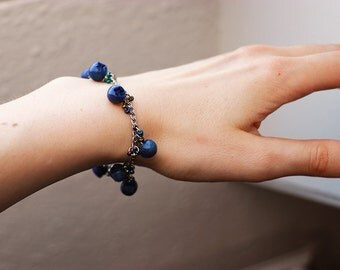 Beautiful Blueberry Bracelet - Fruit Jewelry - Fruit Bracelet - Miniature Food Jewelry