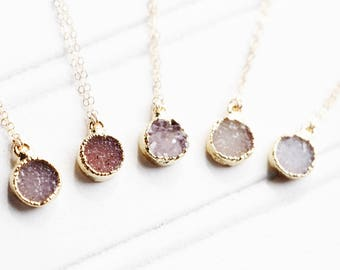 Tiny Amethyst Druzy Necklace, Round Druzy Pendant, Drusy, Gold Necklace, Minimalist, Gemstone Necklace, Layering Necklace, Boho Necklace