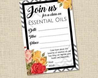 Essential Oils Class Printable Invitation 3.5x5 DIY Chevron Roses