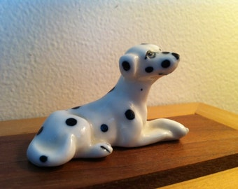 Vintage Ceramic Dalmatian Dog Figurine, Spotted Dog, Firehouse Puppy,  Very Collectible Old,   FREE SHIPPING