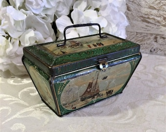 Antique Tea Tin, Dutch Boats Ships, Vintage Tin Box, John Huiner Holland Java Tea Tin