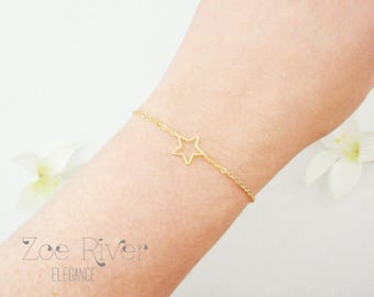 Choose silver or gold star bracelet. Silver star bracelet. Dainty star bracelet