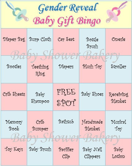 Gender Reveal Party Game Gender Reveal Baby Shower Bingo