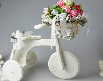 Shabby Chic Decorative Bicycle Home Decor Recycled Hand Painted Wooden Bicycle with Flower Basket Vintage Lace Shabby Cottage Bike
