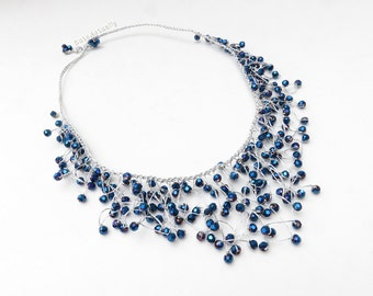 Metallic blue crystal necklace on silk thread, blue necklace, dangle necklace, knitted necklace