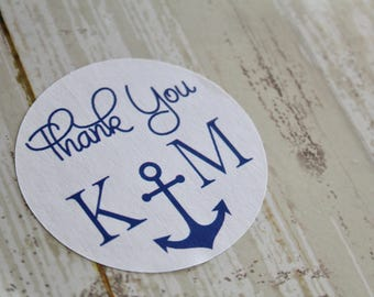 BEACH, Nautical Wedding, Beach Wedding, Wedding Favor Sticker, Anchor, Thank You Sticker