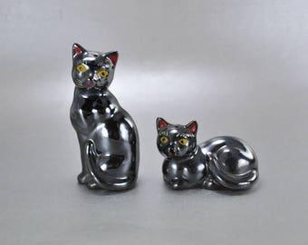 Red Clay Kitty Cat Salt Pepper Shakers Silver Luster Vintage Japan Feline Figurines