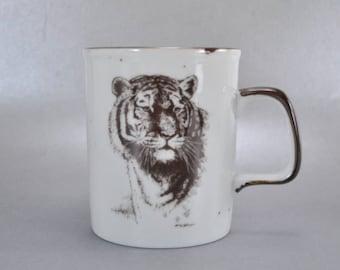Vintage San Diego Zoo Tiger Wild Animal Park Coffee Mug Cup Souvenir Stoneware