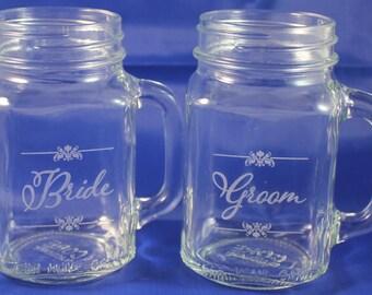 Bride and Groom/Mason Jar Mugs/Custom/Surname/Date/Engraved/Bride and Groom Glasses/Wedding Glass/Wedding Decor/Shower Gift