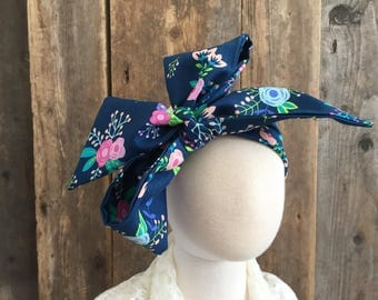Navy Aqua Pink Green Lime Spring Summer Floral Head Wrap Headwrap