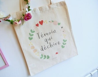 """Tote bag """"Witness that rocks"""" special Bachelorette girl - wedding - bride - bridesmaid - witness"""