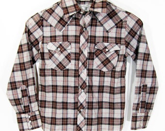 Vintage JCPenney Plaid Western Shirt (youth) Sz.10 1970's