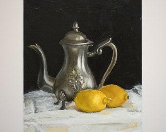 "Original 30cm x 40 cm 11.81"" x 15.74"" Oil Painting on Paper + Mat Silver Coffeepot & 2 Lemons On White Tablecloth"