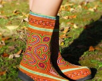 Women's Tribal Vegan Boots, Womens Boots, Tribal Boots, Vegan Boots, Hmong Boots, Hippie Boots, Boho Boots, Orange Boots, Ethnic Boots