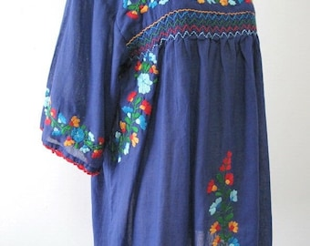 XL Mexican Embroidered Blouses Cotton Top In Blue, Boho Blouses, Hippie Top, Peasant Blouse