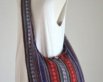 Woven Sling Bag Ethnic Boho Bag Hobo Bag Hippie Bag Cotton Crossbody Bag Shoulder Bag Messenger Bag Diaper Bag Casual Handbags NEPCB6271