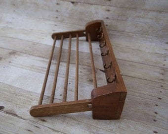 Vintage Wooden Drying Rack,Laundry Rack,Wall Mounted Herb Rack, Small Drying Rack