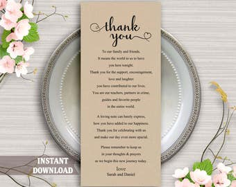 Printable Thank You Place Card, Wedding Thank You Card Template, Table Sign, Instant Download Editable Card, Heart Script Thank You Card DIY
