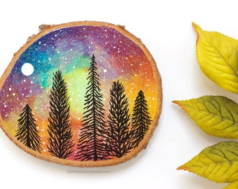 """Rainbow Forest Painting, Hand-Painted Wood Slice Painting, 3.5"""" by 4"""" Tree Art, Wood Painting, Forest Rainbow Galaxy Painting, Wood Art"""