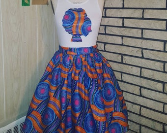 African Clothing for Women: K A M A N I Belle Skirt Set Made with African Batik Wax - Maji Collection
