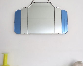 Vintage Art Deco Bevelled Mirror Colored Glass Details Fan Shape