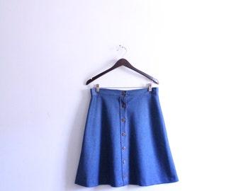 Mod Button Front A-Line Skirt