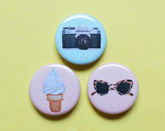 Day Out Pin Set | 1.25 inch Pinback Button Badge | Camera, Ice Cream and Sunglasses
