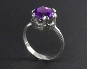 February Birthstone - Amethyst Ring - Six-Point Crown Ring - Queen Ring - Solitaire Ring - Purple Stone Ring - Enlightenment Ring
