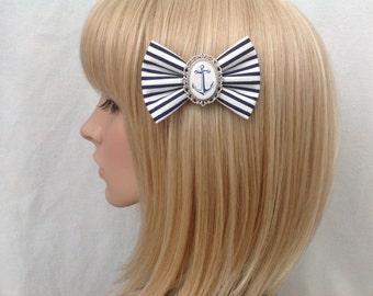 Anchor hair bow clip rockabilly psychobilly kawaii pin up pinup girl punk sailor nautical blue white stripe striped retro