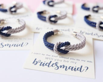 Asking bridesmaid - tie the knot bracelet - navy blue gray wedding - nautical knotted rope bracelet - will you be my bridesmaid bracelet