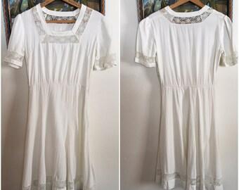 1930s 1940s Ivory Summer Dress xs sm