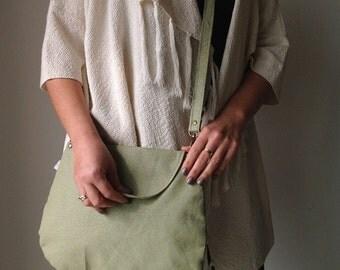 Faux Leather Bag, Vegan Cross body bag, Green vegan crossbody bag, Messenger bag ,Green Messenger bag, Green Shoulder bag, vegan bag