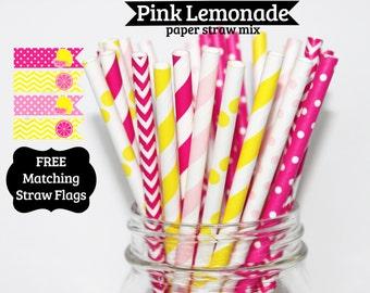 25 Pink Lemonade Paper Straw Mix pink yellow  PAPER STRAWS birthday party wedding bridal shower event cake pop sticks Bonus diy straws flag
