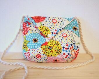 child handbag. for boy or girl shoulder bag. child bag. little cute pouch. Flower bear bag. The flying panda