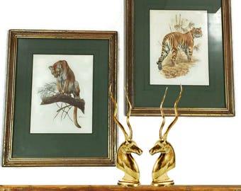 Vintage Wall Art Modern Art Set 1970's Hollywood Regency Glam Tiger Print Signed Cougar Framed Matted Modern Bohemian Art Jungle Cats