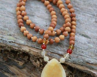 Solar Plexus (third chakra/manipura) Yellow Jade Mala  - Meditation Yoga Beads yoga jewelry BOHO chic / mala beads