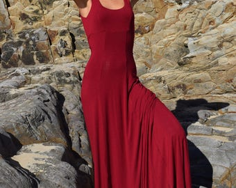 Rio Red Maxi Dress- Low V-back- Fitted Bra Bodice- Bamboo Lycra