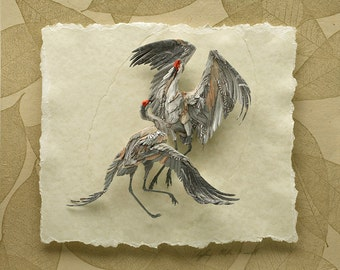 Blank Card - 'Couple's Dance' - Sandhill Crane Paper Sculpture, Print