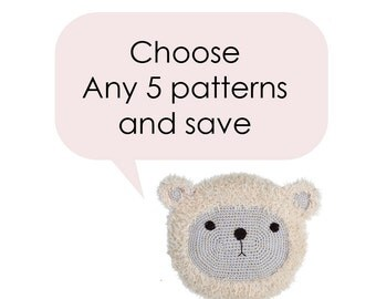 Crochet Pattern Bulk Buy Discount - Save - Any 5 Patterns by Roaming Pixies