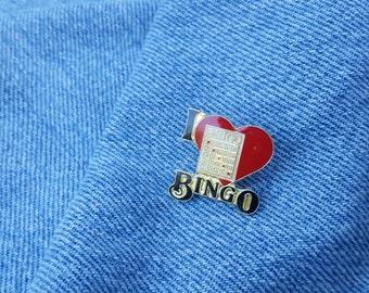 Vintage 1980's I LOVE BINGO Lapel Pin Brooch