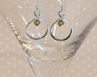 Infinity Loop Earrings With Swarovski Crystal Birthstone