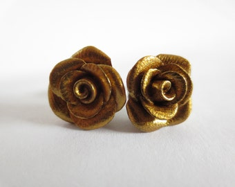 Polymer Clay Golden Rose Earrings