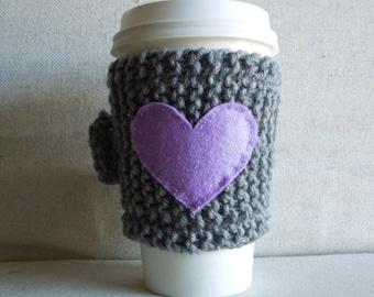 Lavender Heart Coffee Cozy, Mug Sweater, Coffee Sleeve, Mug Cozy