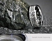 8MM Mens Silver Tungsten With Celtic Dragon Scroll Wedding, Engagement, Anniversary Ring Custom Laser Engraved Inside